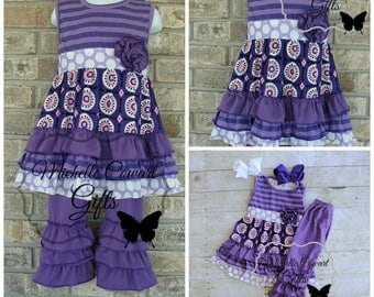 Purple Outfit, School, Fall, Ruffle Pants, Girls Outfit, Toddler Outfit, 12M, 18M, 24M, 2T,  3T, 4T, 5 6, Matilda Jane, Birthday, School
