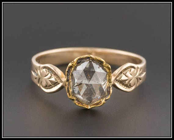 Antique Diamond Ring | Rose Cut Diamond Ring | Antique Rose Cut Ring | Yellow Gold Diamond Ring | Victorian Ring