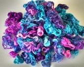 Teeswater Locks - Curls - Hand Dyed Locks - Spinning - Doll Hair - Lockspinning - Wool Locks - Felting - Fiber - Locks - Midnight Peacock