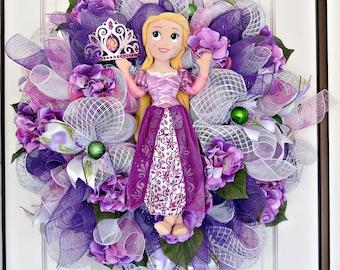 Rapunzel Wreath, Rapunzel Decor, Rapunzel doll