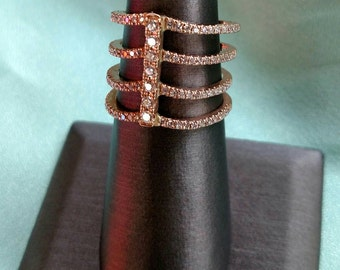 Quadruple Stacker Gold Diamond Ring