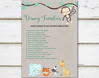 Printable Baby Shower Game, Disney Families, Disney Parents, Jungle Animals, Characters, Kraft, Jungle, Jungle Baby Shower, Digital, MB197