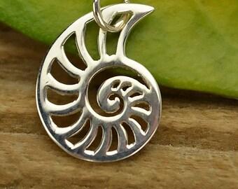 Sterling Silver Nautilus Charm