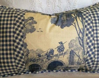 Blue Ivory Toile Gingham Pillow Cover Laura Ashley Toile Pillow Cover 12x20 Lumbar