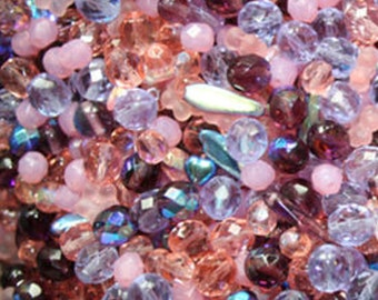 Bulk 50g Blossoms Czech Glass Beads Mix, pink, lilac, and plum, mixed shapes, UK seller