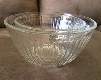 Pyrex Clear Ribbed Mixing Bowls (2),  Vintage, 1960s