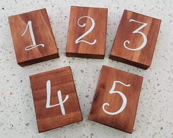 5 x Small wooden table numbers - rustic wedding / event