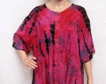 Plus Size Tie Dye Floral Embroidered Tunic Top Purple Freesize 8 10 12 14 16 18 20 22 24 26 28