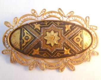 Vintage Damascene Arabesque Style Filagree Brooch.