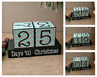 Xmas Decor, Days til Christmas Countdown Blocks, Santa Blocks, Holidays Countdown, Christmas Decoration, Holidays Gift Idea, Wood Blocks Set