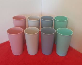 tupperware tumblers 8 piece cup set in two sizes, tupperware #107 and # 873