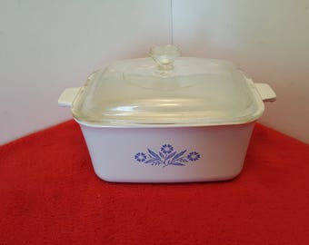 vintage corningware small loaf pan / small casserole / vegetable dish / cornflower blue P-4-B / rectangular corningware