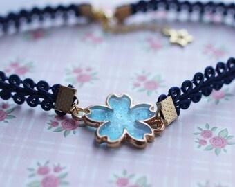 Blue Sakura Choker Necklace