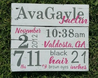 Birth Announcement Pallet Sign - New Baby Wood Sign - Birth Announcement Wall Art - Baby Name Sign - Baby Stats - Baby gift - Nursery Decor