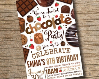 PRINTABLE Chocolate Party Invitation, Chocolate Desserts Birthday Invitations, Dessert Party, Chocolate Desserts Sweets Invite (Printable)