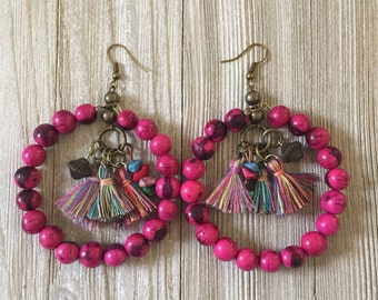 Berry Hoop Earrings, Acai Seed Earrings, Tassel Earrings, Boho Earrings, Seed Jewelry