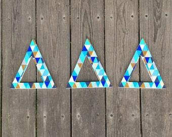 geometric sorority letters delta delta delta wooden letters tri delt letters wooden greek letters painted greek letters triangle print