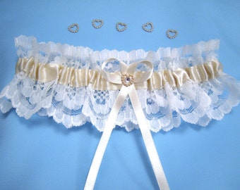 Ivory and champagne wedding garter bridal garter with diamonte