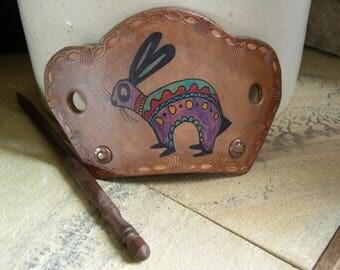 502 Leather Hair slide, stick barrette, primitive style cave art symbols, bunny rabbit, petroglyph, Southwest, bun holder, hair jewelry