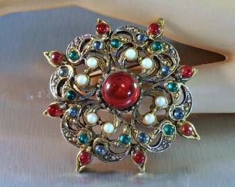 Rhinestone Brooch, Gripoix Style, Glass Cabochon Red Green Blue, Faux Pearl