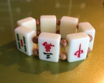 Mahjong Sketchie Bracelet retro 1950s Fakelite Plastic