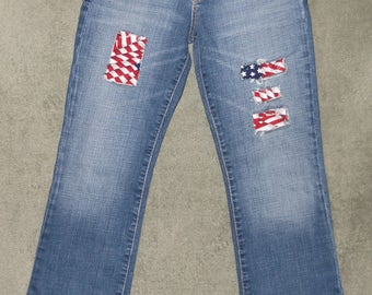 X2 Jeans, Boot Cut Jeans, Super Cute, Womens Size 2 S, 27x29.5, Super Low Rise, Juniors, Teens, Stretch, Up Cycled, Patched Jeans