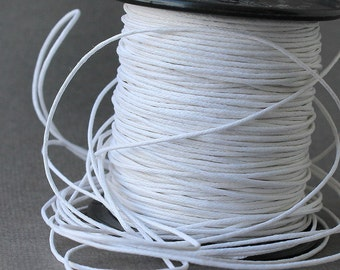 White Waxed Cotton Cord, 1mm Wax Cord 10 m (32,81 feet), Cotton Cord, Woven Waxed Cotton Cord, Shamballa Jewelry Making, Stringing Materials
