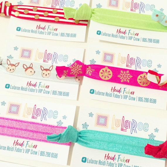 LULAROE HOLIDAY Hair Tie Business Cards    LuLaRoe Snowflake Cards + Hair Ties   Christmas Thank You Gift, Christmas Promo Promotional Gifts