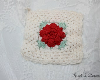 Vintage 1940s Hand Crochet Red Rose Pot Holder - Red, White and Green Potholder  - Rust and Repeat