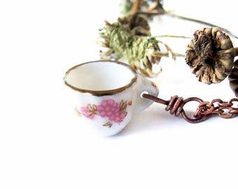 Sweet Teacup Necklace, Cute Porcelain Tea Cup Necklace, English Teapot, Cute Floral Teacup Necklace