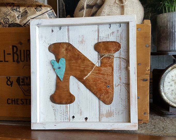 Wooden Rustic Home Decor Letter sign, Farmhouse Style Country Wedding Decor, Family Name Sign Initial Housewarming Moving Gift, Fixer Upper