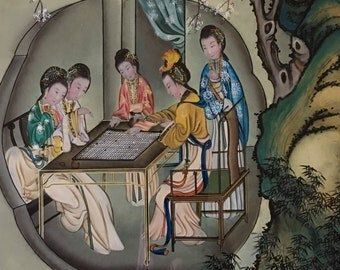 Gorgeous Vintage Chinese Reverse Painting on Glass Women Playing Go