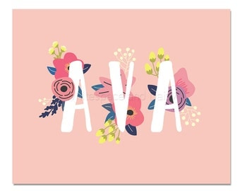 Ava Baby Name Wall Art Ava Baby Name Sign Ava Party Printable Ava Party Decorations Ava Adult Party Decorations Ava Art