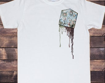 Men's White T-Shirt Flowery Pocket- Melting Upside Down Pocket Print TS697