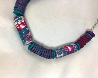 Stunning mokume gane beaded necklace