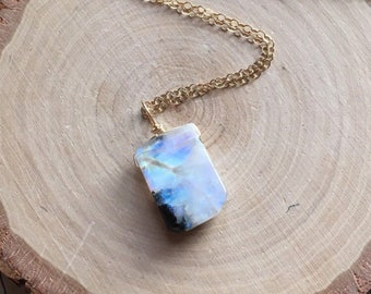 Rainbow Moonstone Necklace - Moonstone Necklace - Moonstone -Moonstone Jewelry - Crystal Necklace - Gift For Her - June Birthstone Necklace