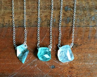 Aquamarine Pendant Necklace - Aquamarine - Aquamarine Jewelry - Aquamarine Crystal Necklace - Raw Crystal Necklace - Gift For Her
