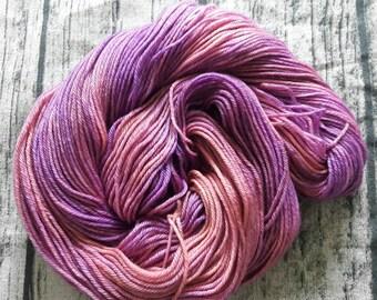 Heather. Superwash merino sports weight. Handdyed yarn.