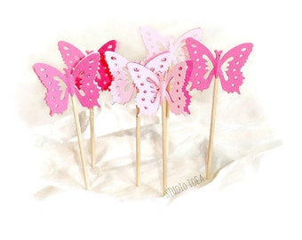 Mixed Pink Monarch Butterfly Cupcake Toppers, Food Picks-Set of 12pcs, 24 pcs