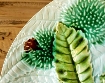Striking 19thC Antique French Faience Barbotine Horse Chestnut & Leaves Decorative Plate