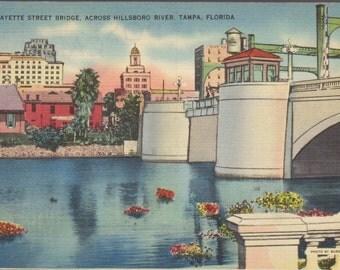 Lafayette Street Bridge Across Hillsboro River Tampa Florida Vintage Postcard 1795