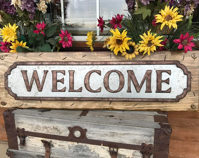 "WELCOME Sign for Porch Rustic Metal on Distressed Wood *Antique Red White Blue Gray Reclaimed Industrial XL Large 41"" Wall Signs Home Decor"