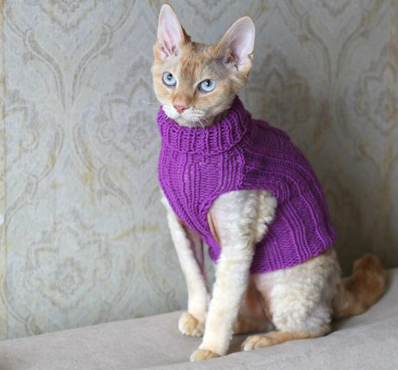 Handmade Cat Small Dog Jumper Sweater Coat Wool By: Handmade Cat Small Dog Jumper Sweater Dress Wear Turtle-neck