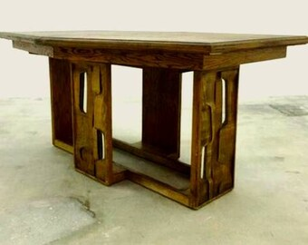 Mid Century Modern Wood Brutalist Dining Table Vintage Circa 1960's Highly Stylized and Unusual Simply Stunning!