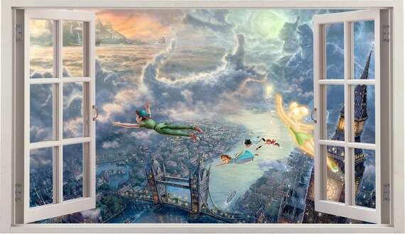 3D Peter Pan Window Wall Decal by WallVinylConnection