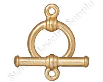 TierraCast Bar and Ring Toggle Clasp, Gold-Plated Lead-Free Pewter, Authorized TierraCast Dealer, USA Seller (T187)