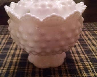 fenton hobnail milk glass  round covered jelly/jam