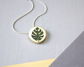 Leaf Necklace / Monstera Leaf / Monstera Plant / Palm Leaf / Botanical jewelry / Exotic wood and metal / Silhouette Necklace / Leaf Jewelry