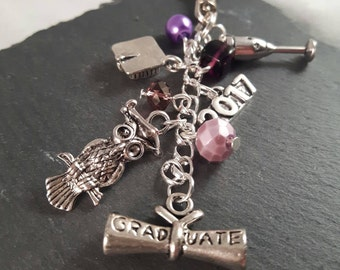 Graduation gift bag charm - student gift - university gift - gift for student - PhD gift - Masters gift - lecturer gift - college gift