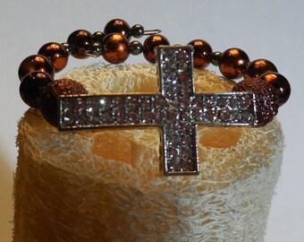 Copper Beaded Memory Wire Bracelet with Rhinestone Cross
